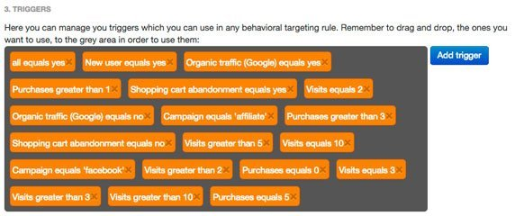 Listado de Triggers, Behavioral Targeting - BrainSINS
